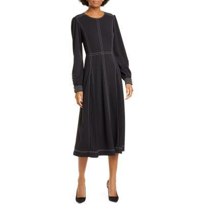 Tory Burch Pleat Detail Long Sleeve Crepe Dress, Black
