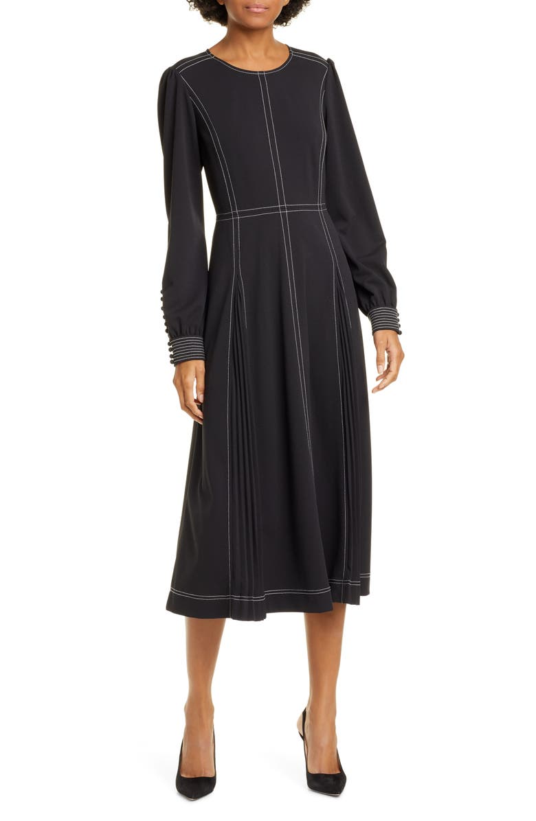 TORY BURCH Pleat Detail Long Sleeve Crepe Dress, Main, color, BLACK