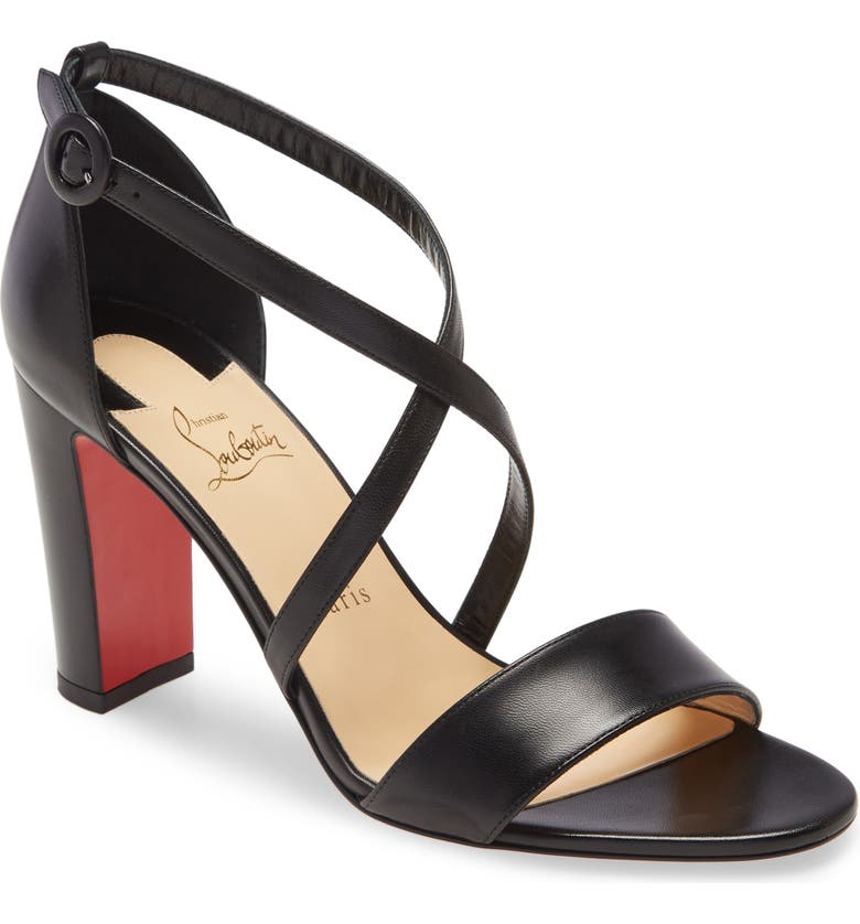 CHRISTIAN LOUBOUTIN Loubie Bee Cross Strap Sandal, Main, color, BLACK