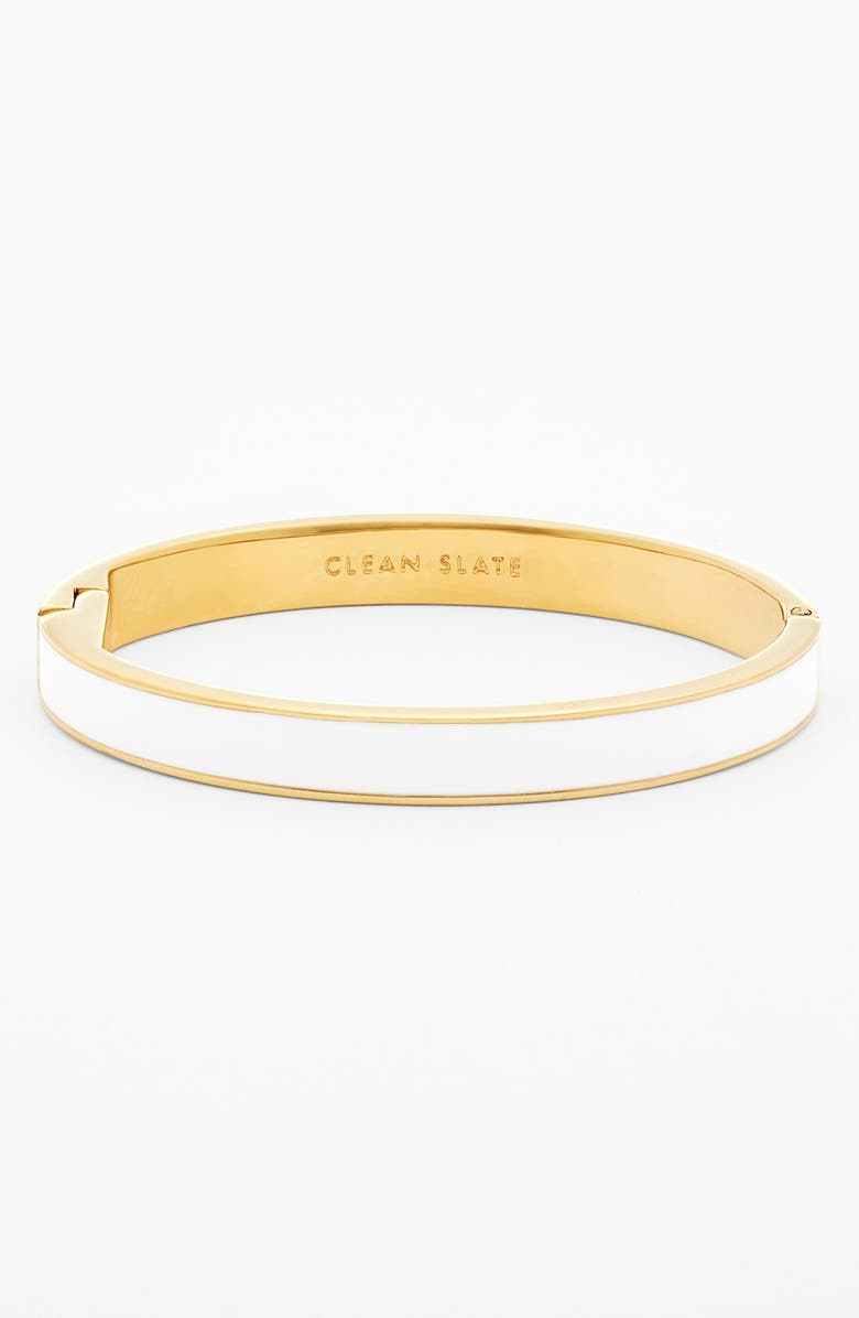 KATE SPADE NEW YORK 'idiom - clean slate' enamel hinge bangle, Main, color, 100