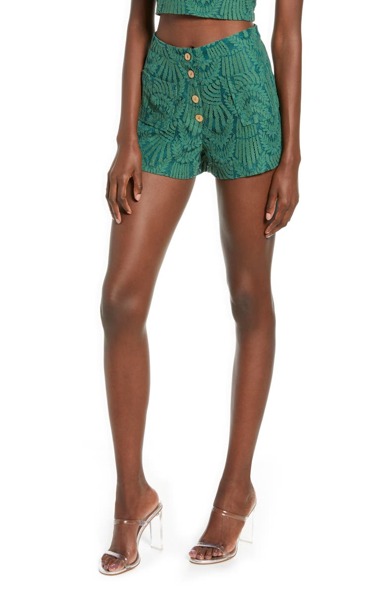 4SI3NNA Kacey Button Front Embroidered Lace Shorts, Main, color, GREEN