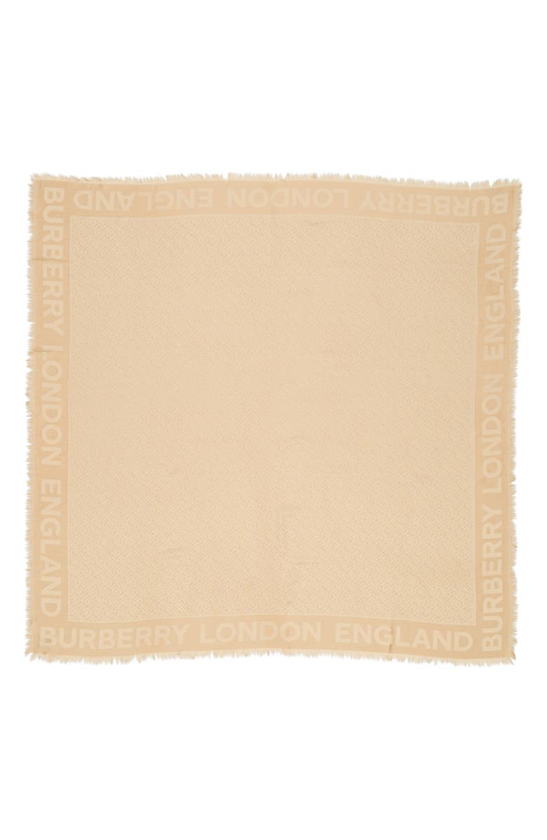 BURBERRY Monogram Jacquard Silk & Wool Scarf, Main, color, HONEY