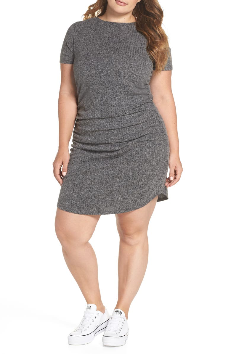 BP. Ruched Ribbed Body-Con Dress, Main, color, 030