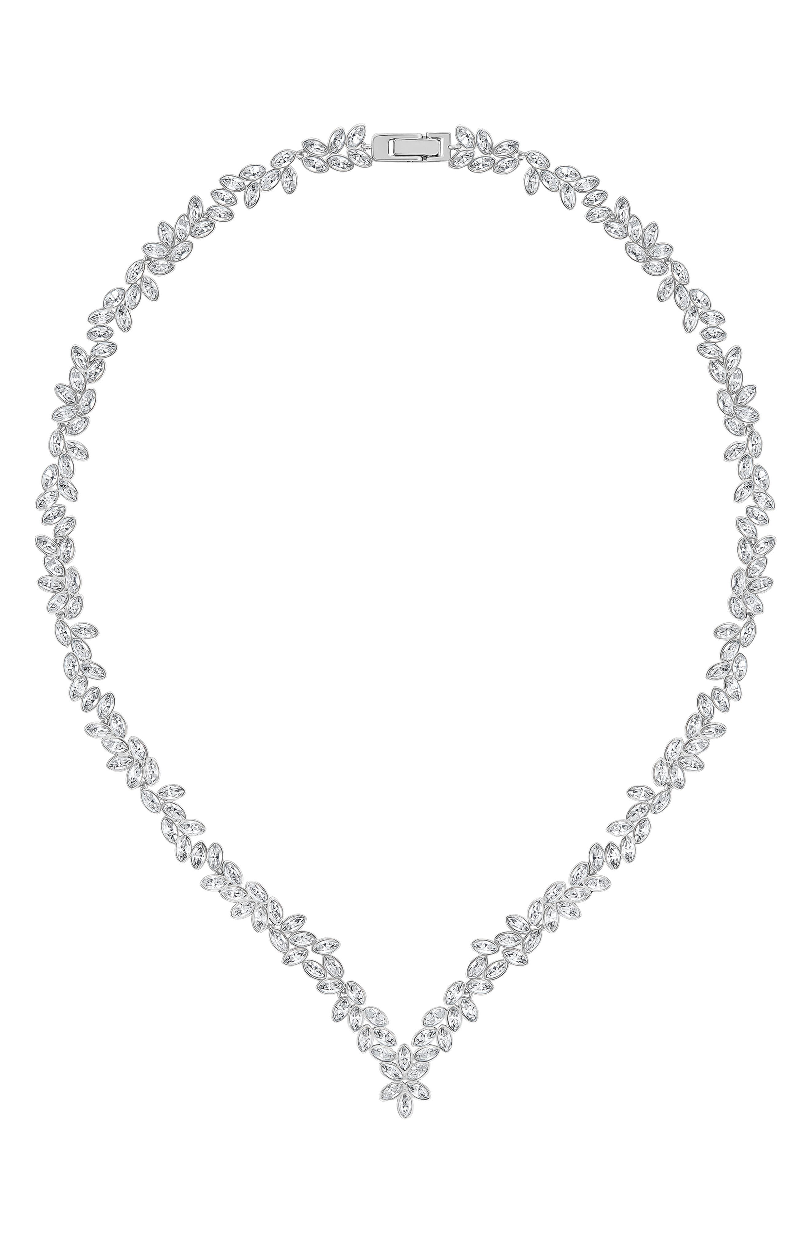 Image of Swarovski Diapasonall Rhodium Plated Swarovski Crystal V Collar Necklace
