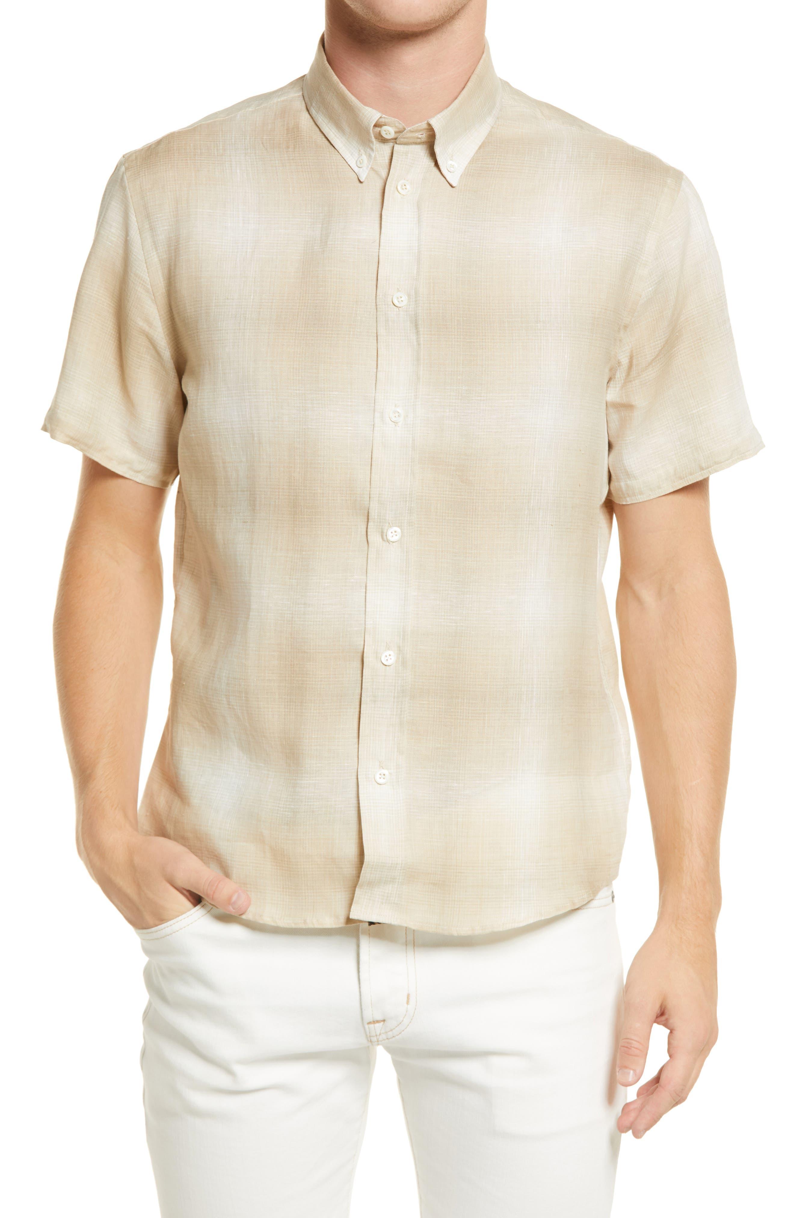 Murphy Check Short Sleeve Linen Button-Down Shirt