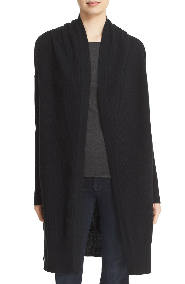 LOMA Rib Knit Cashmere Cardigan, Main, color, 001