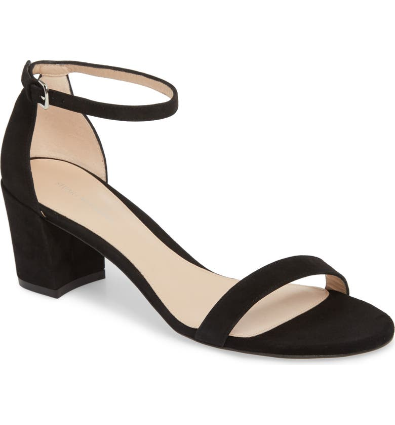 STUART WEITZMAN Simple Ankle Strap Sandal, Main, color, BLACK SUEDE