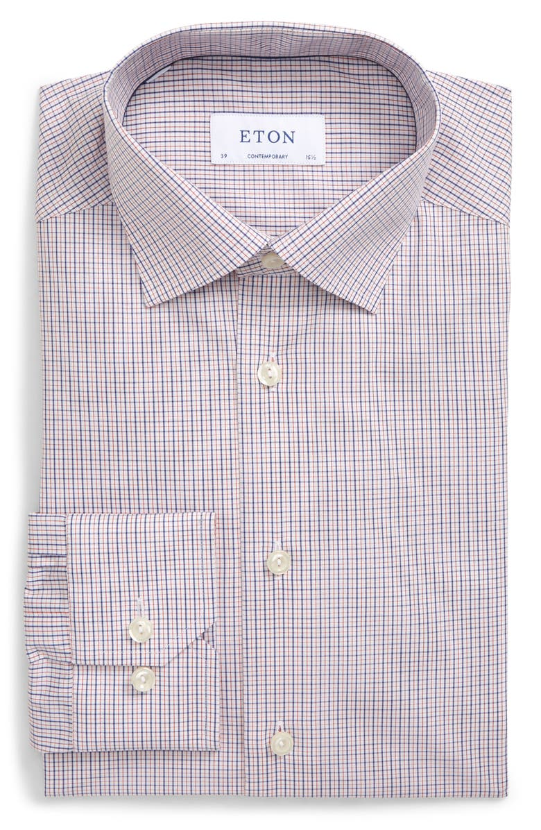 ETON Contemporary Fit Check Dress Shirt, Main, color, RED