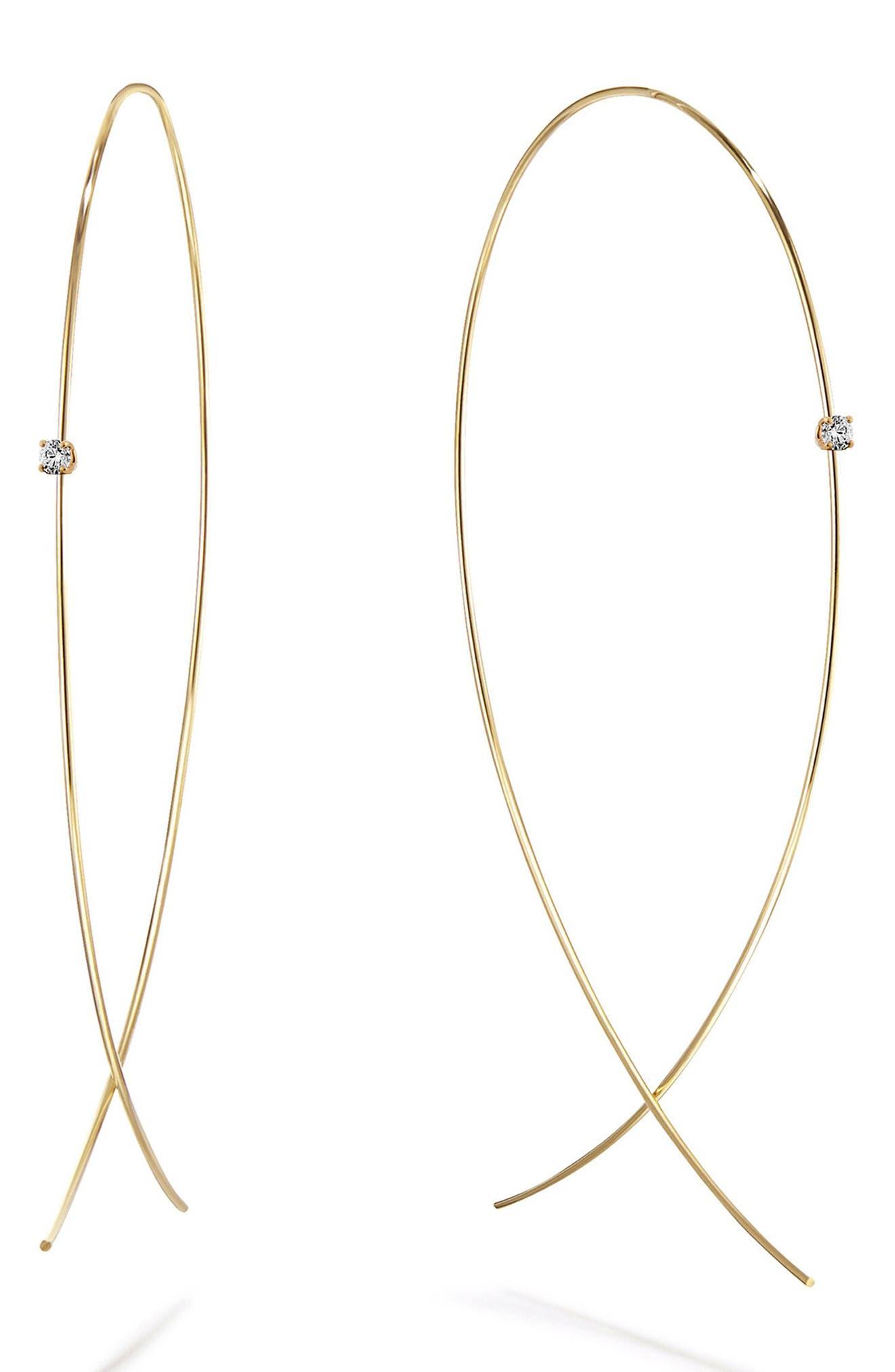 Large Upside Down Diamond Hoop Earrings