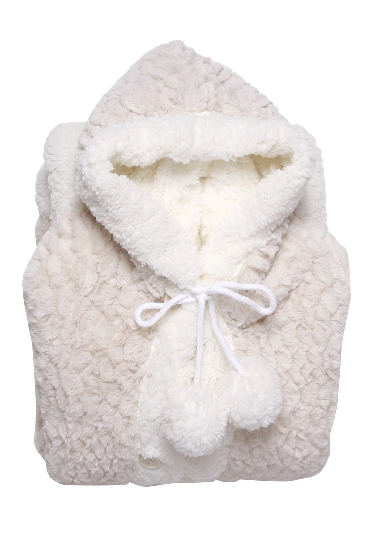 Image of Chic Home Bedding Jinny Faux Shearling Lined Hooded Wearable Blanket - Beige