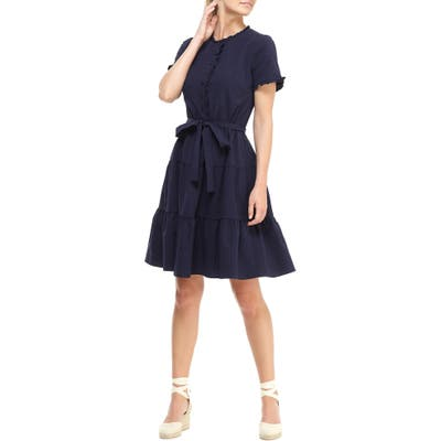 Gal Meets Glam Collection Maisie Microcheck Tiered Dress, Blue