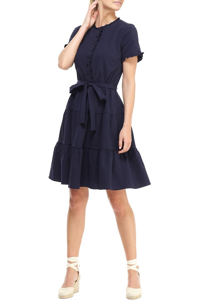 GAL MEETS GLAM COLLECTION Maisie Microcheck Tiered Dress, Main, color, NAVY