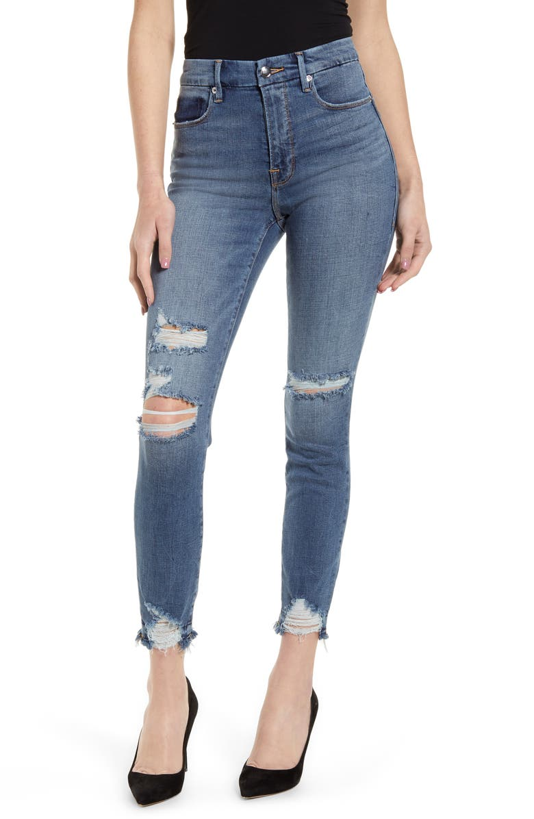 GOOD AMERICAN Good Waist Ripped High Waist Ankle Skinny Jeans, Main, color, BLUE389