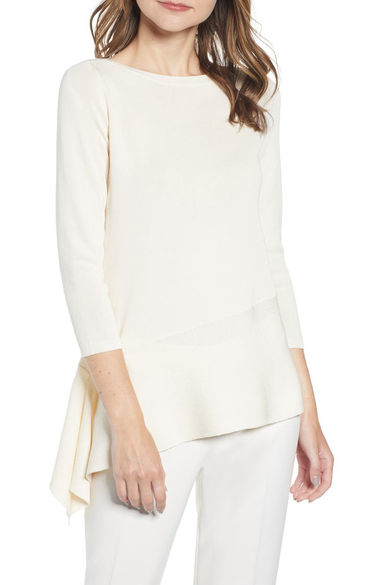 ANNE KLEIN Asymmetrical Long Sleeve Sweater, Main, color, ANNE WHITE