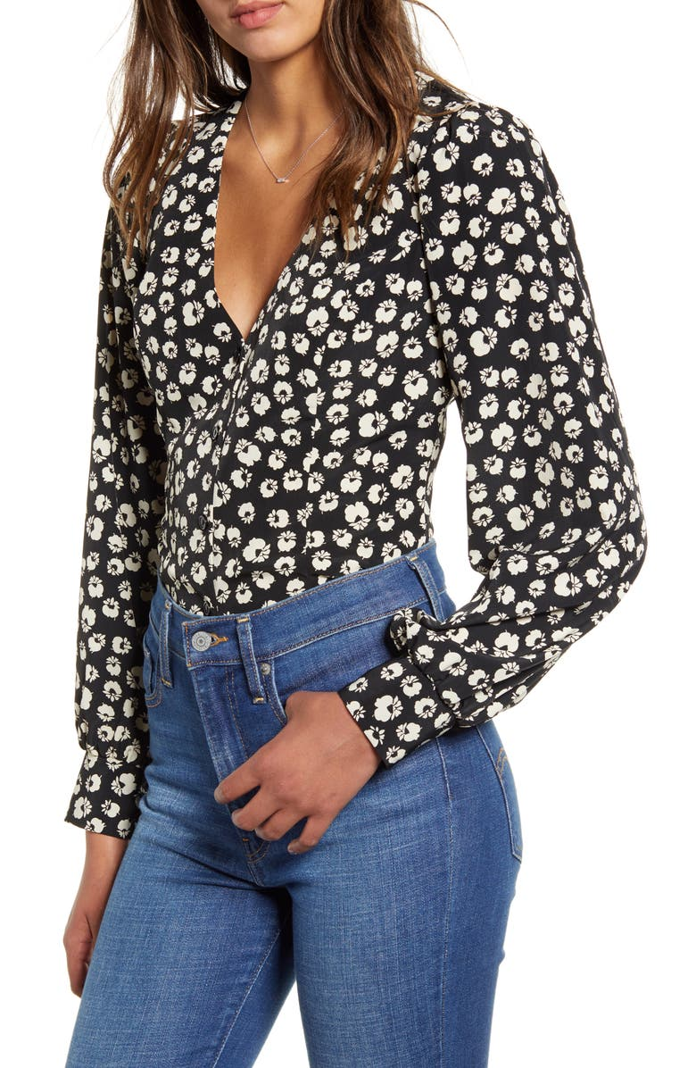 ALL IN FAVOR Floral Print Blouse, Main, color, BLACK/ WHITE FLORAL