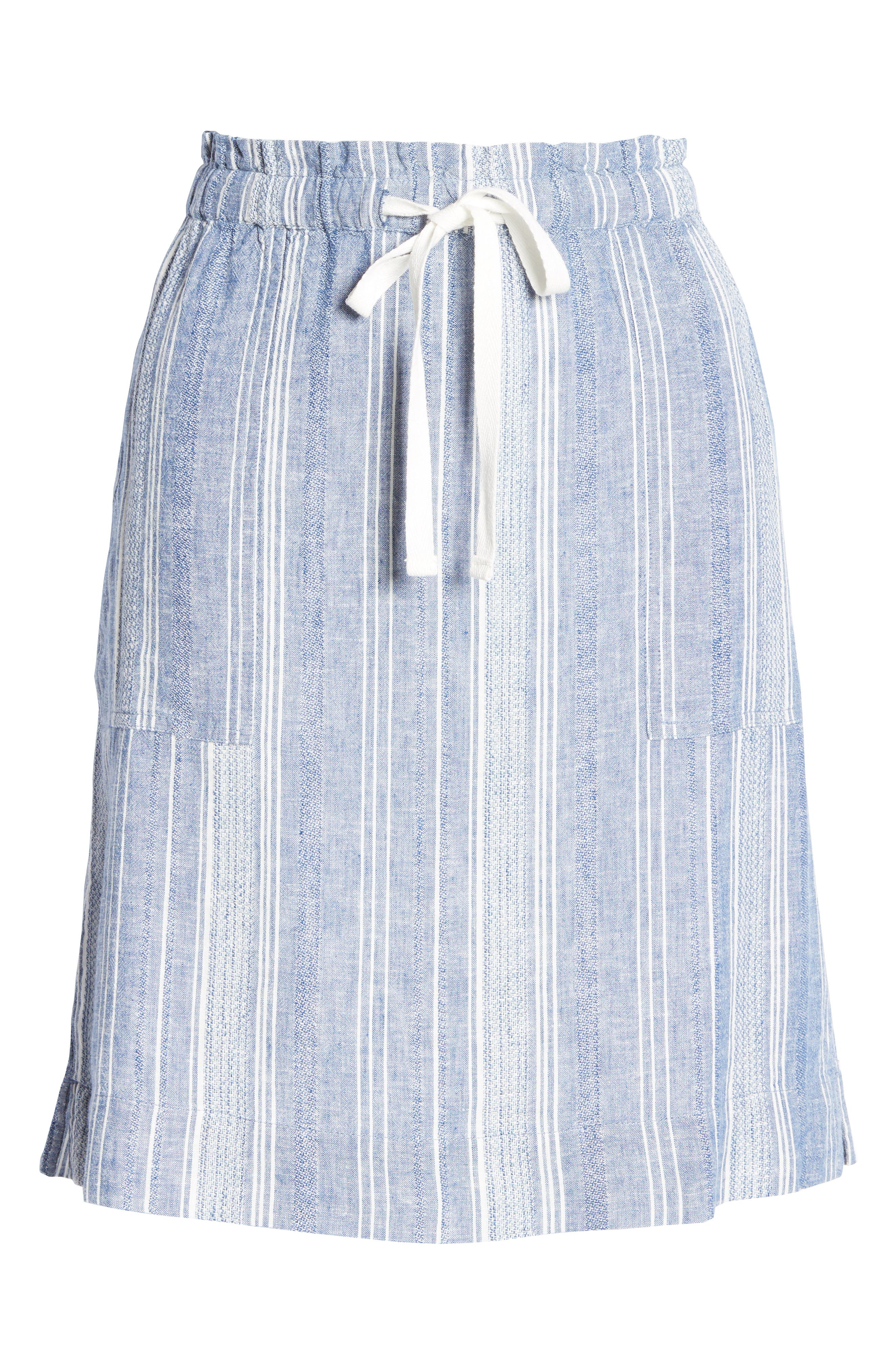 Summery skirt style is all sorted out with this linen-blend version, set with textured stripes and done in a breezy pull-on silhouette. Style Name: Caslon Textured Stripe Linen Blend Drawstring Skirt. Style Number: 5979051. Available in stores.