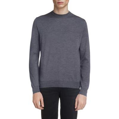 Balenciaga Logo Crewneck Wool Sweater, Grey