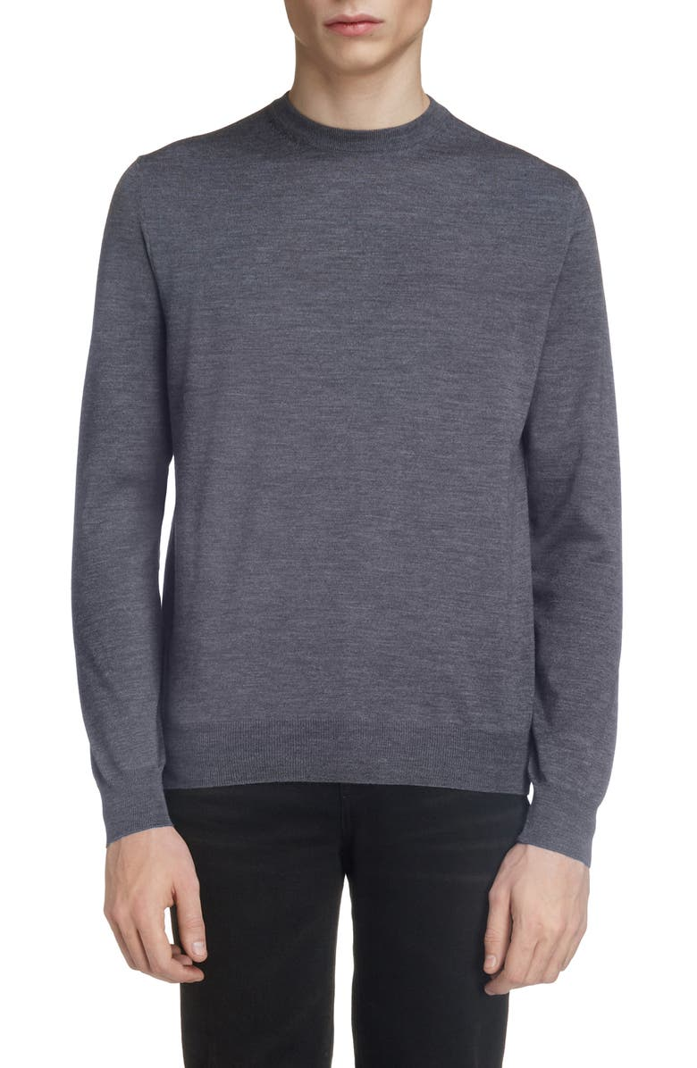 BALENCIAGA Logo Crewneck Wool Sweater, Main, color, HEATHER GREY/ BLACK