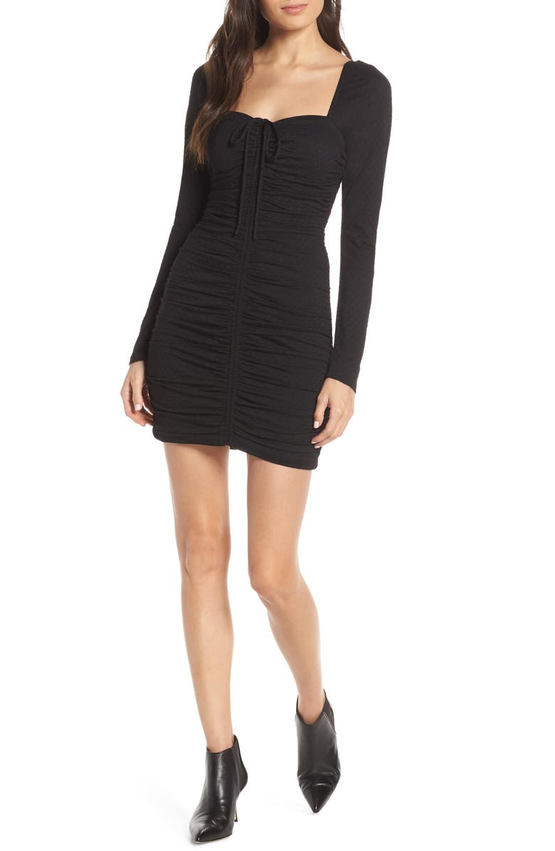 ALI & JAY Ruched Body-Con Dress, Main, color, BLACK