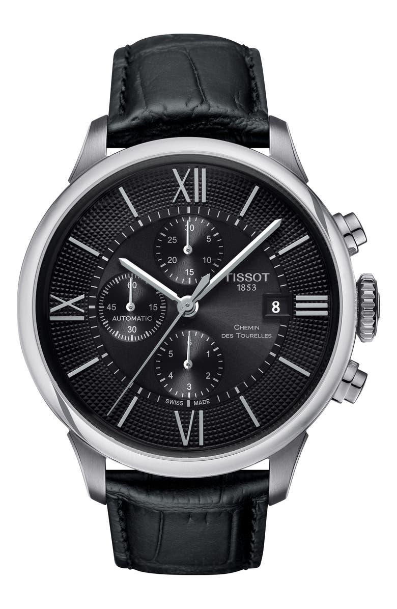 Tissot Chemin Des Tourelles Automatic Chronograph Leather Strap Watch 44mm