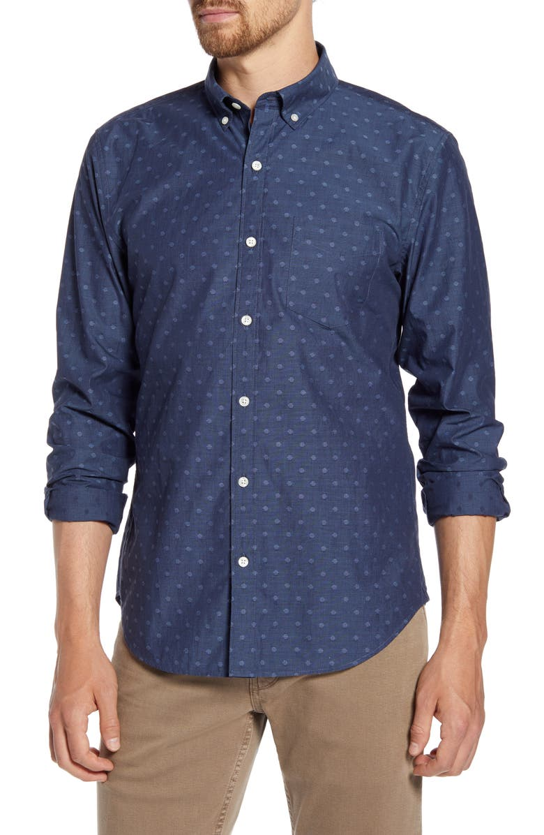 BONOBOS Slim Fit Washed Dobby Dot Button-Down Shirt, Main, color, DOT EXPEDITION BLUE