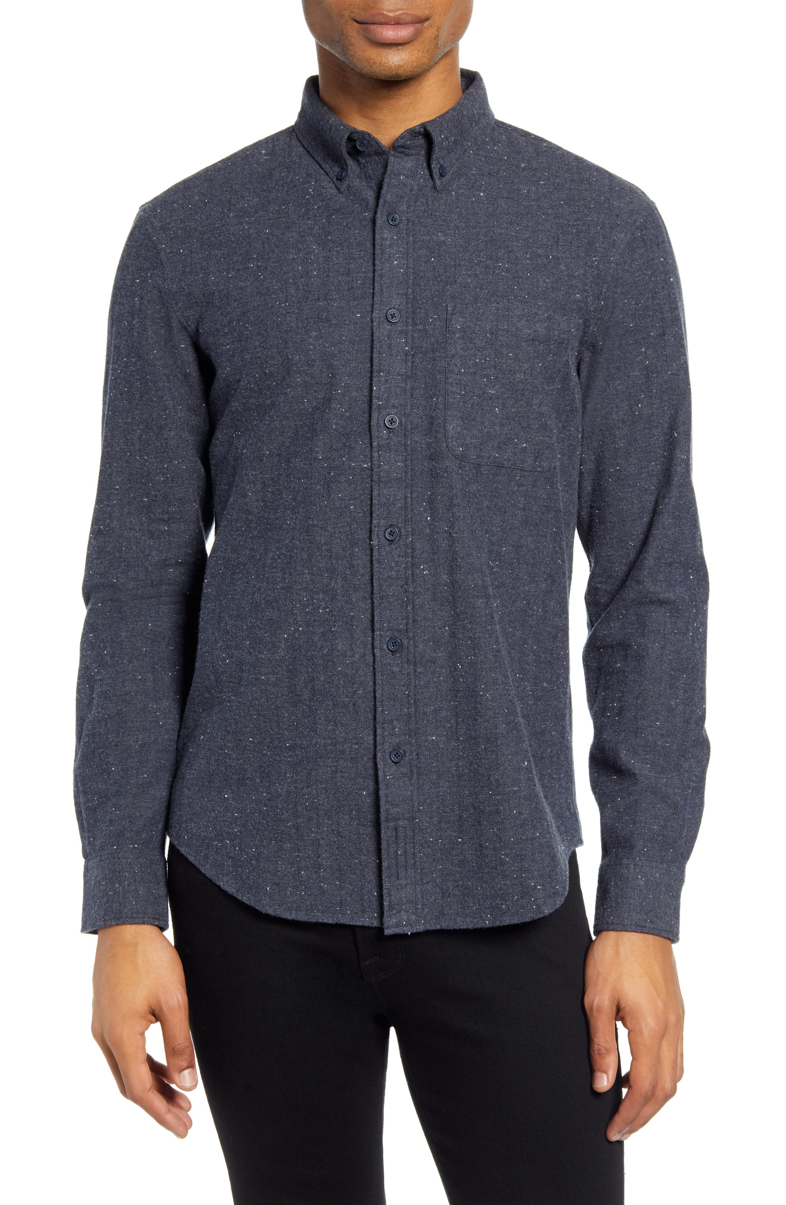 Image of CLUB MONACO Slim Fit Donegal Herringbone Button-Down Shirt