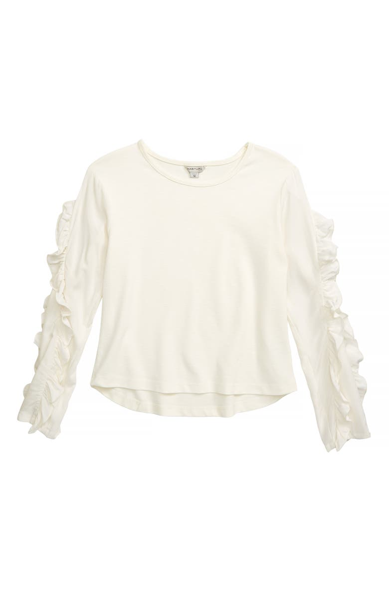 HABITUAL Aria Slub Ponte Ruffle Sleeve Top, Main, color, 102