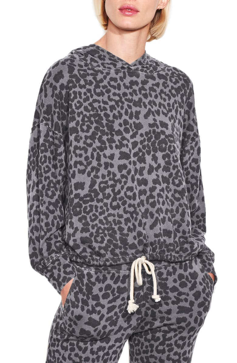 SUNDRY Leopard Print Hoodie, Main, color, CHARCOAL