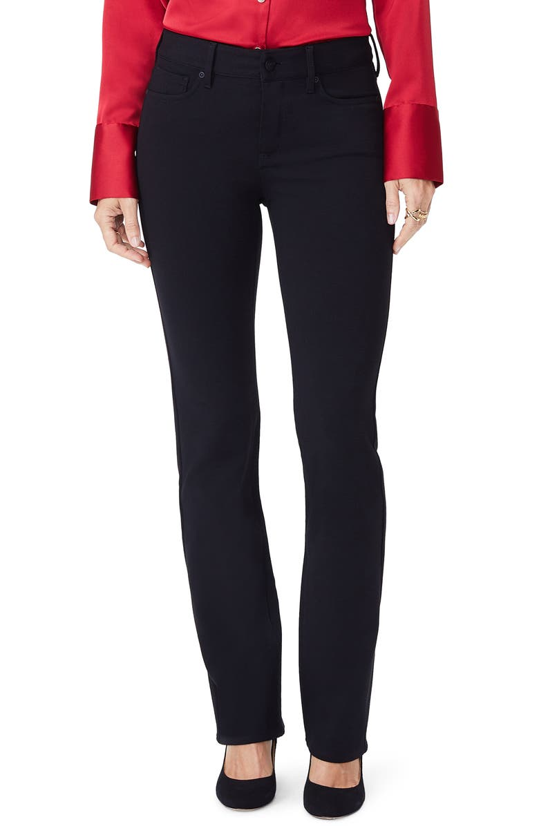 NYDJ Marilyn Straight Leg Ponte Pants, Main, color, BLACK