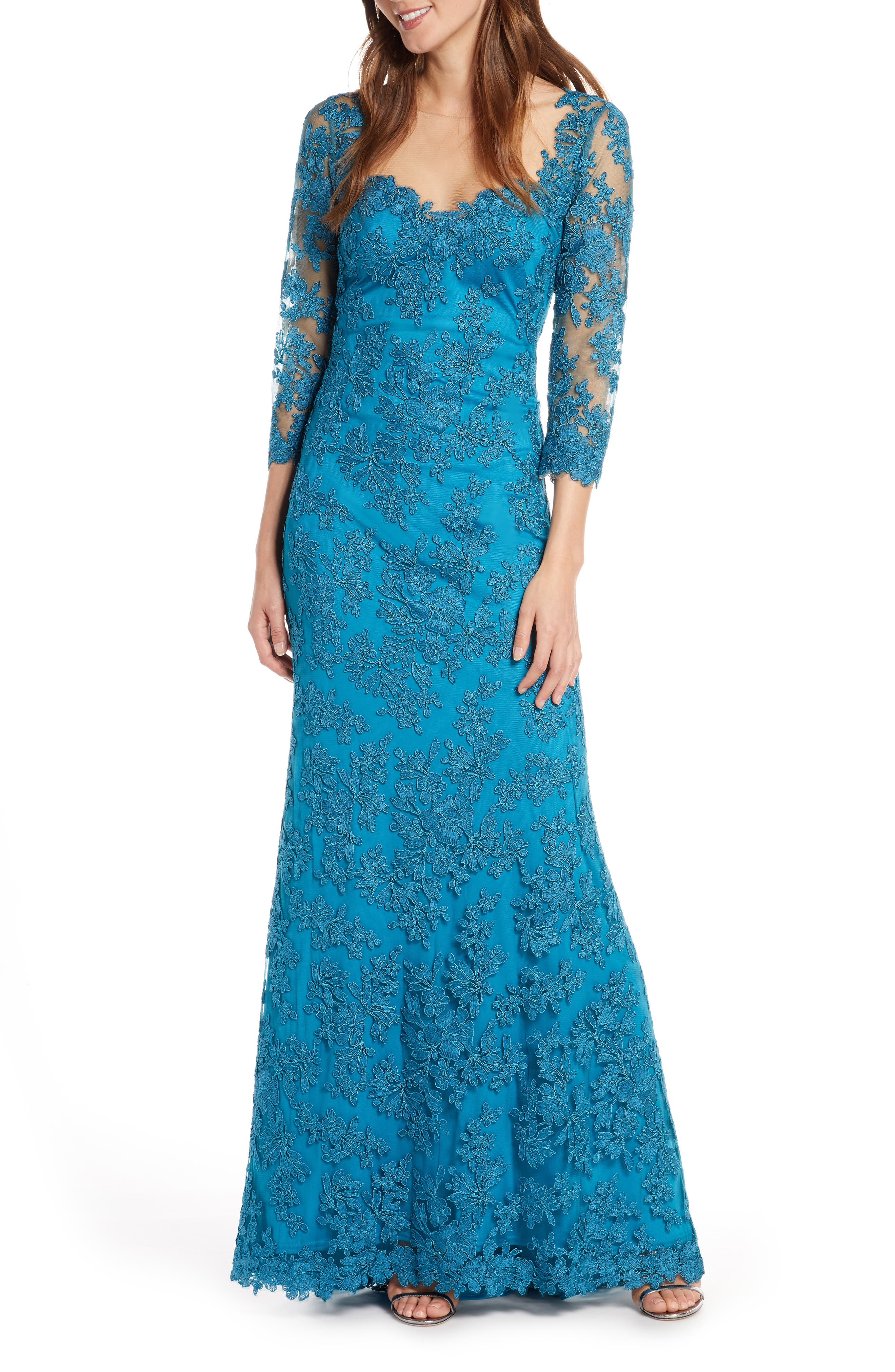 Tadashi Shoji Corded Embroidered Lace Gown, Blue