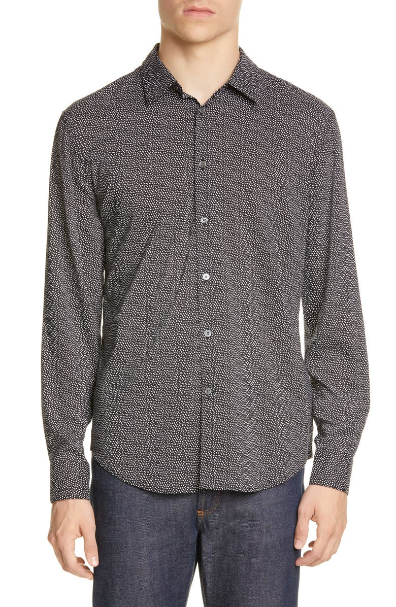 JOHN VARVATOS Slim Fit Dot Print Button-Up Shirt, Main, color, 006