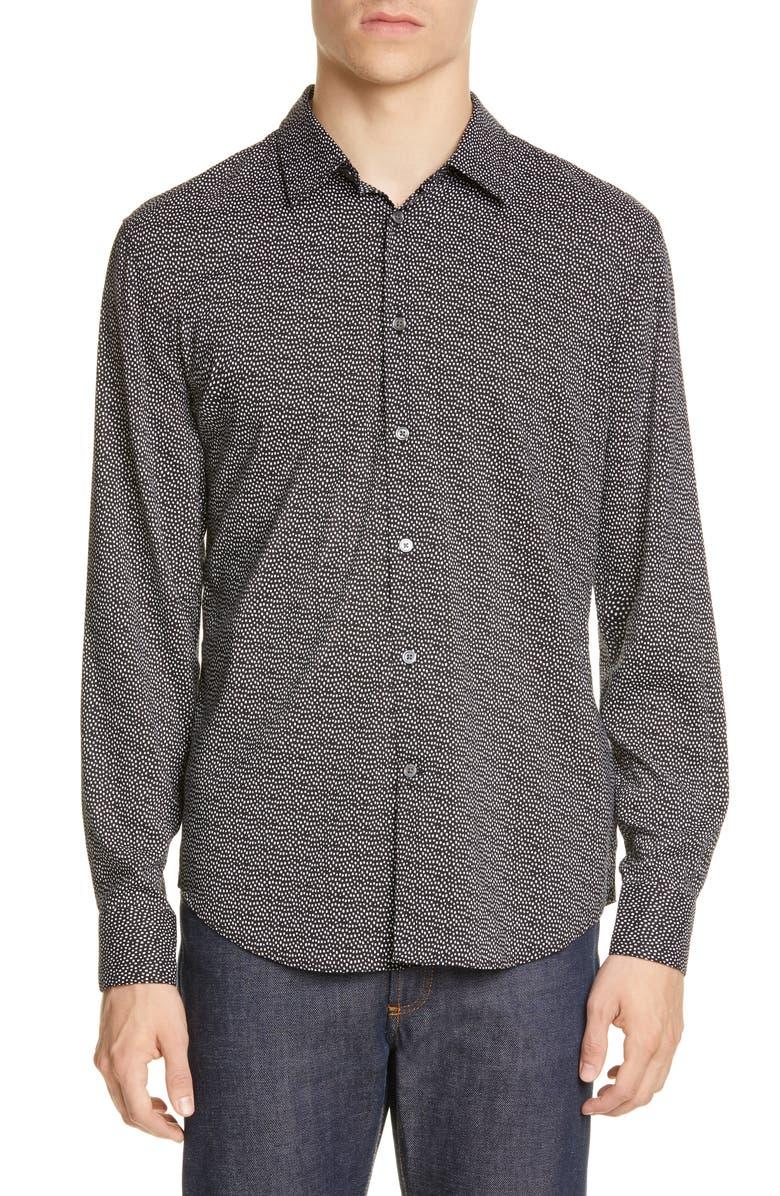 JOHN VARVATOS Slim Fit Dot Print Button-Up Shirt, Main, color, BLACK/WHITE