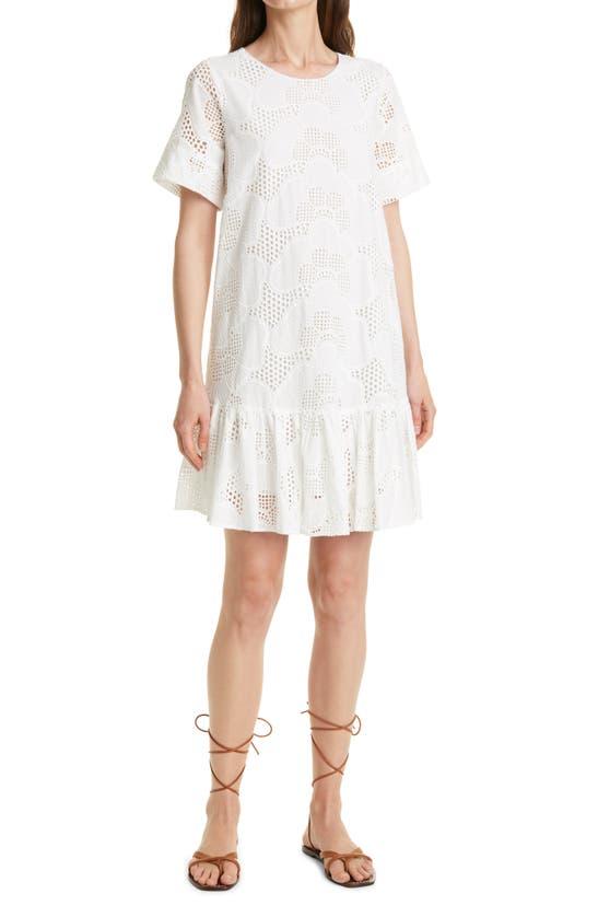 Milly Dresses BRYNN PIERES COTTON EYELET SHIFT DRESS