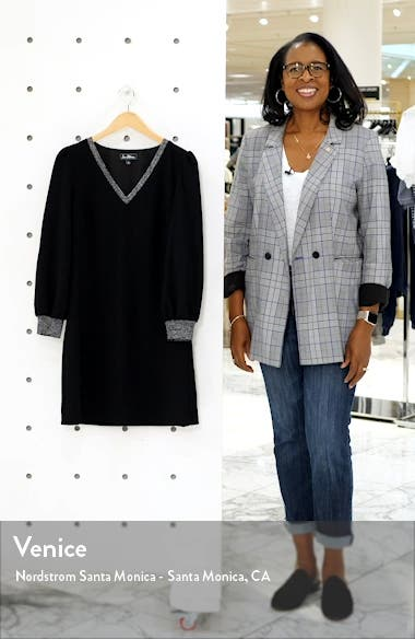 Metallic Trim Long Sleeve Shift Dress, sales video thumbnail