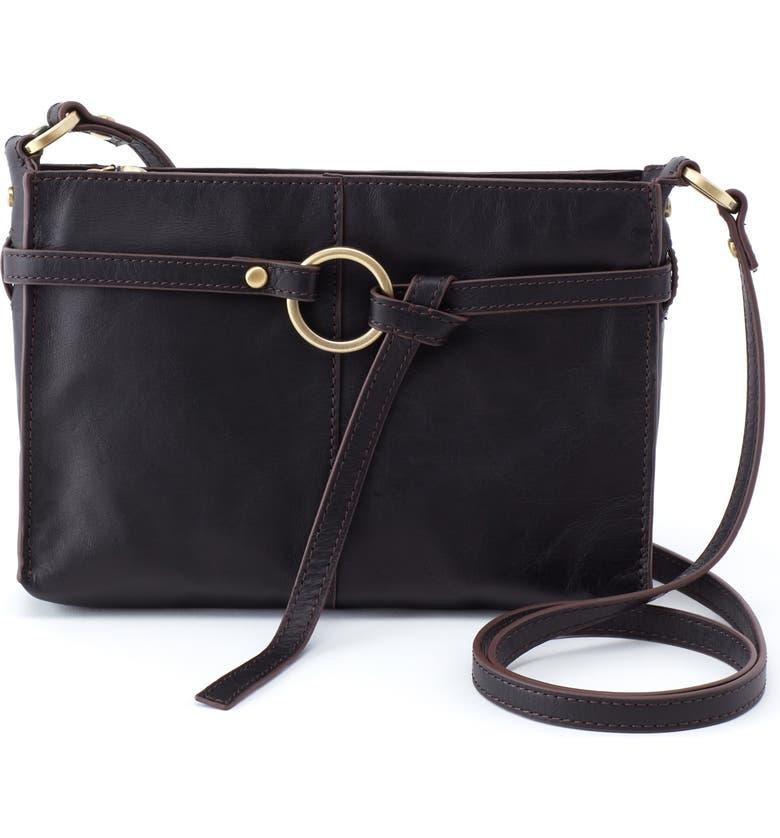 HOBO Libra Leather Crossbody Bag, Main, color, BLACK