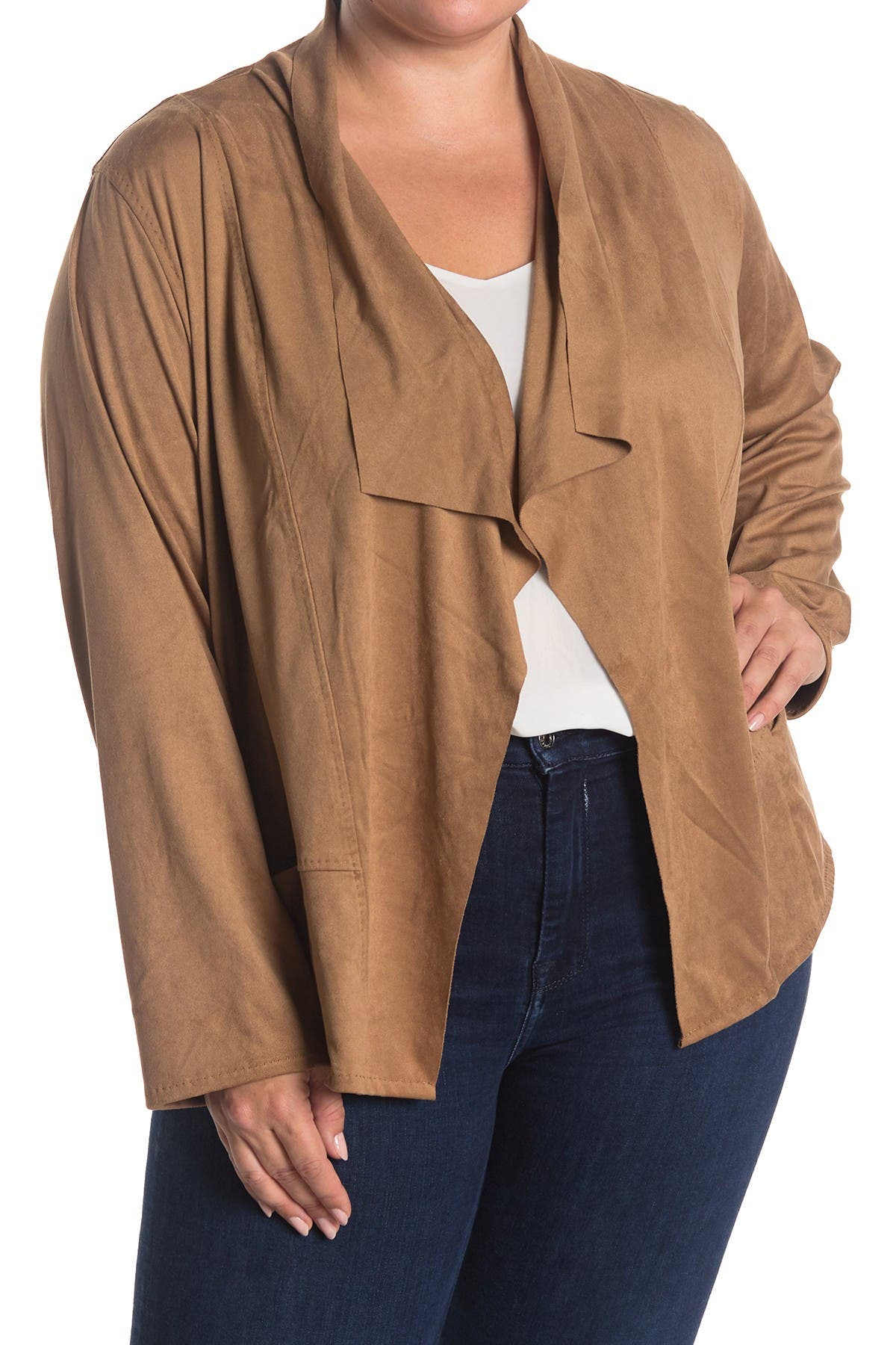 Image of Max Studio Open Front Faux Suede Jacket