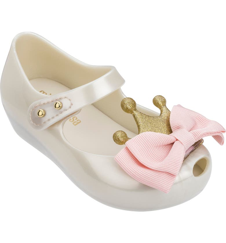 MINI MELISSA Ultragirl Princess Bow Mary Jane, Main, color, WHITE PINK - 53580
