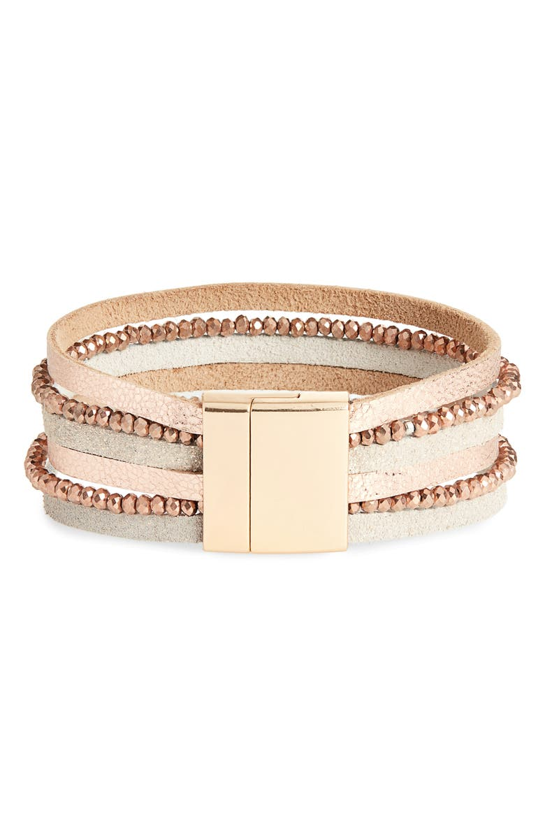 PANACEA Multistrand Crystal & Leather Bracelet, Main, color, 220