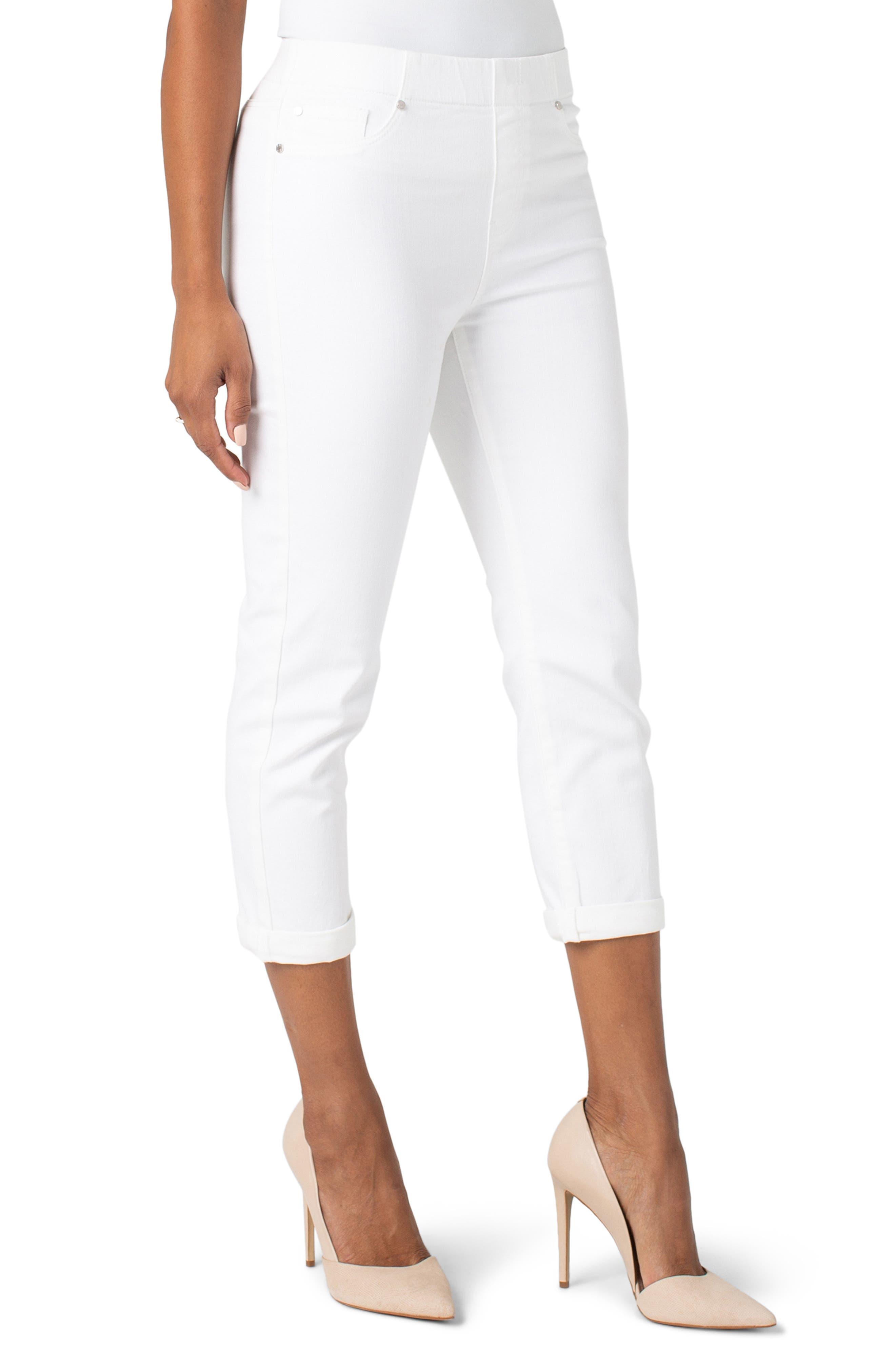 Women's Liverpool Chloe Pull-On Crop Skinny Jeans,  2 - White