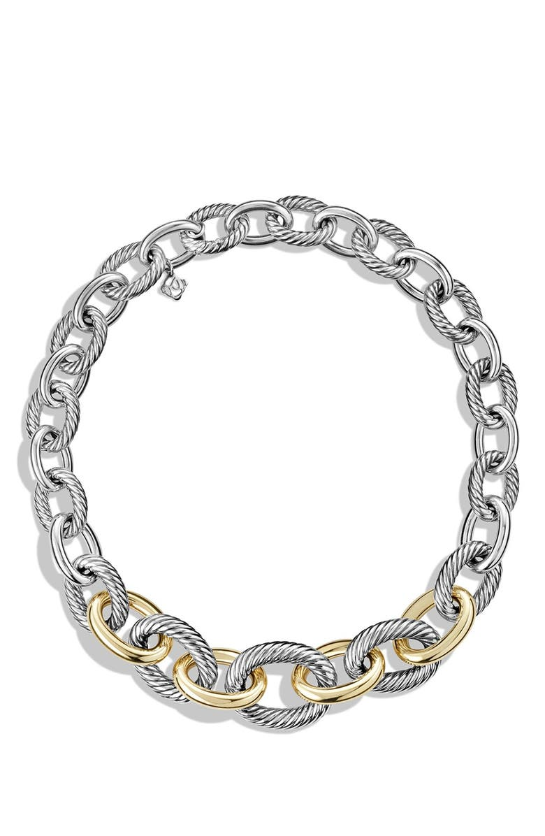 DAVID YURMAN 'Chain' Medium Oval Necklace with 14K Gold, Main, color, TWO TONE
