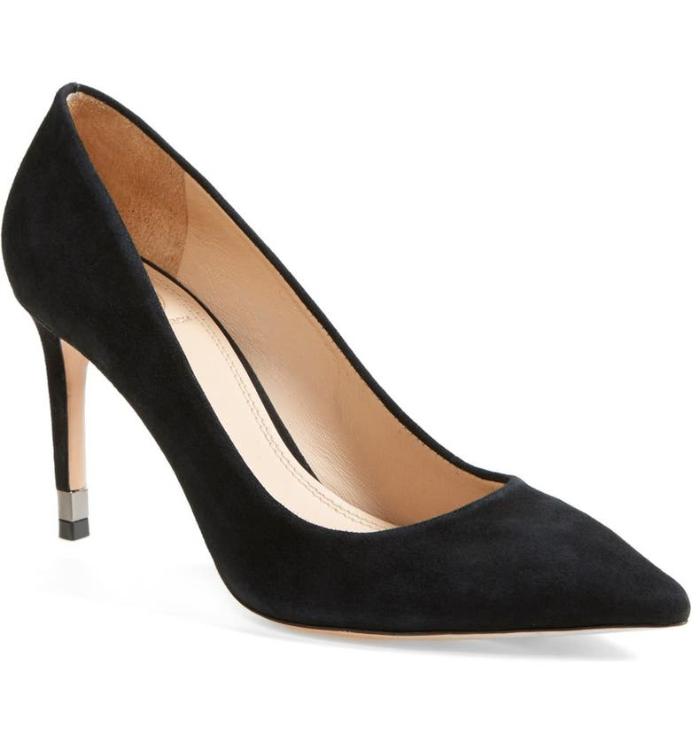 TORY BURCH 'Greenwich' Suede Pointy Toe Pump, Main, color, 001