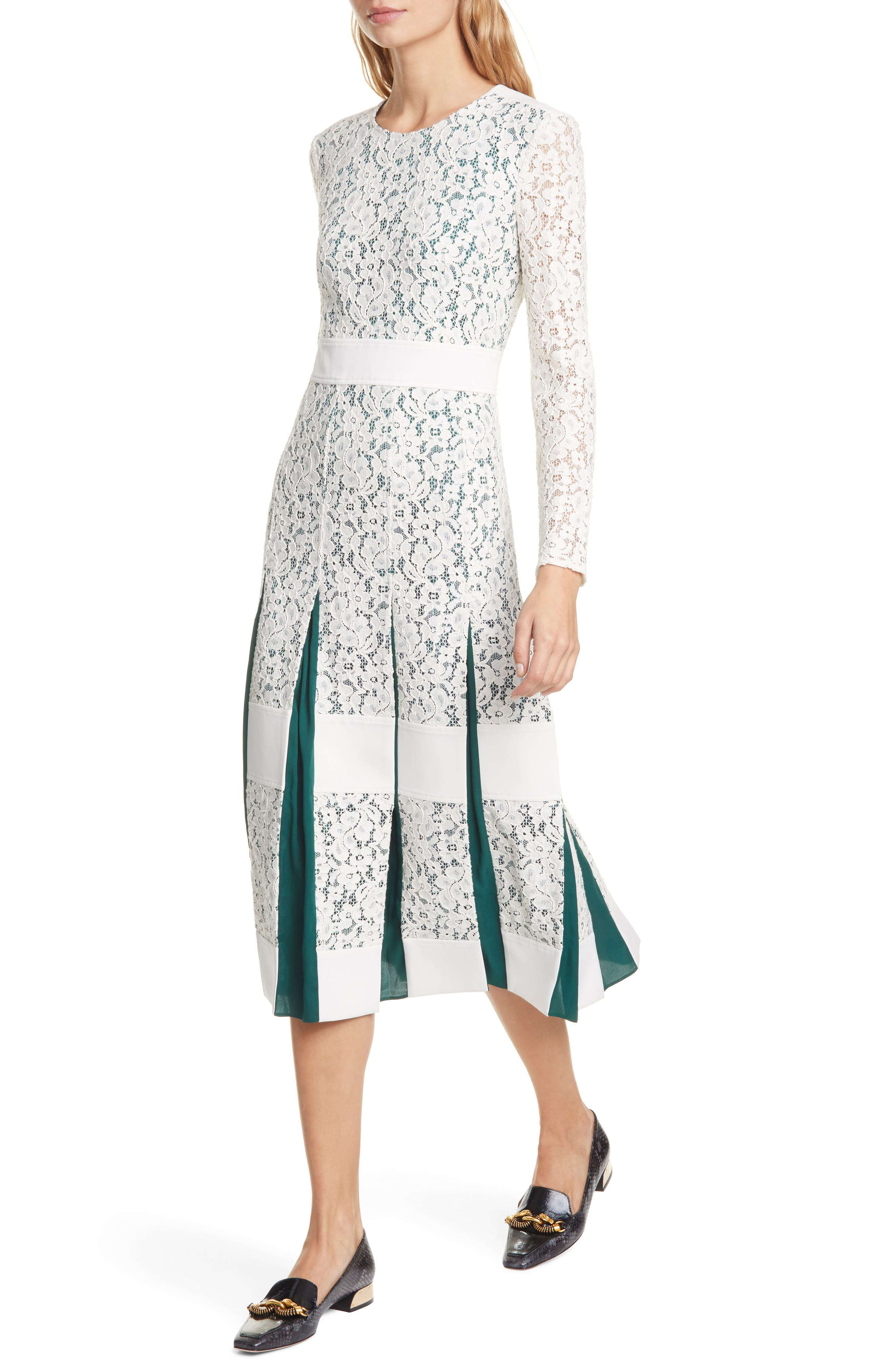 Tory Burch Dresses Long Sleeve Pleated Lace Midi Dress