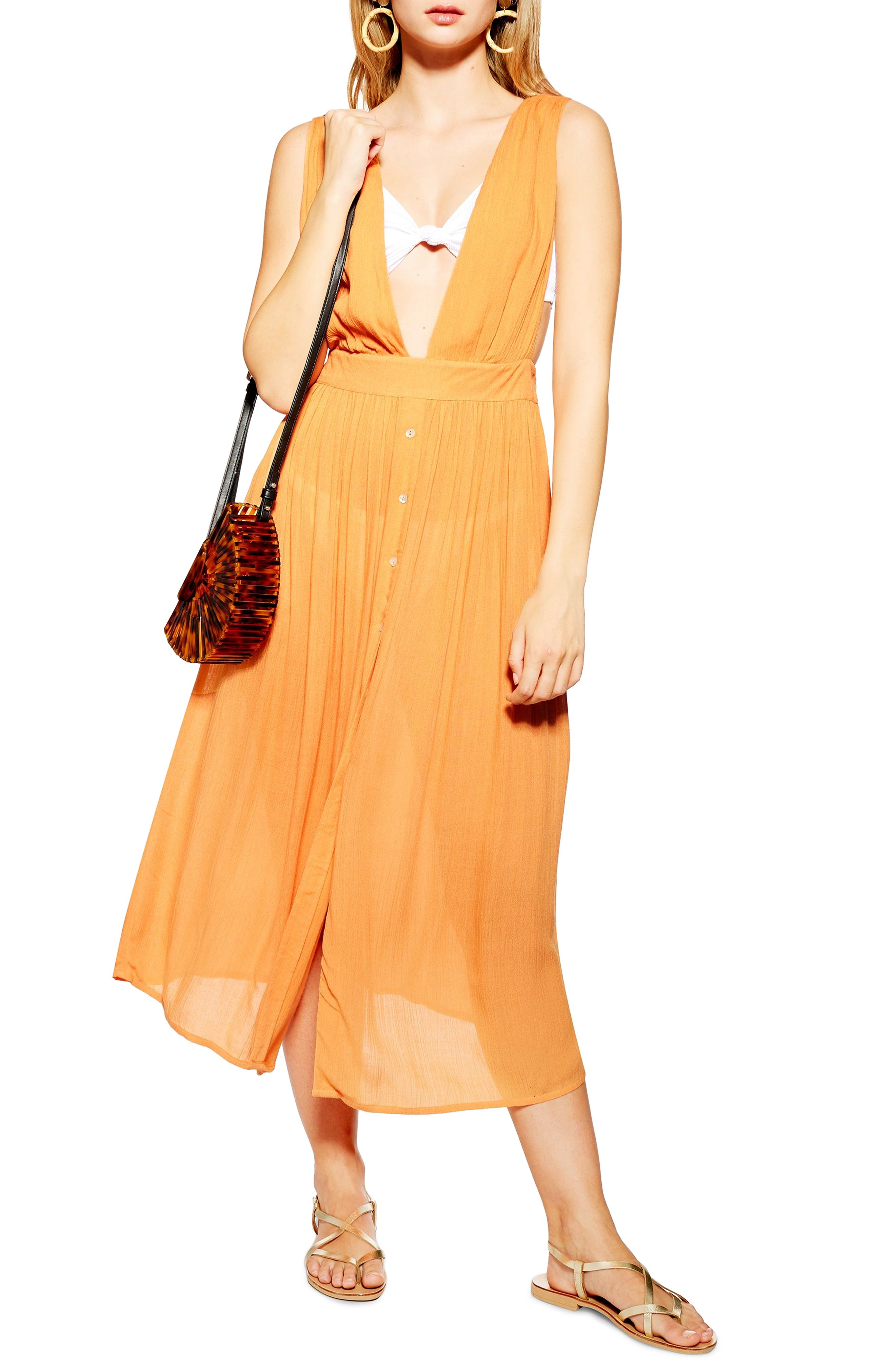 Topshop Button Cover-Up Midi Dress, Coral