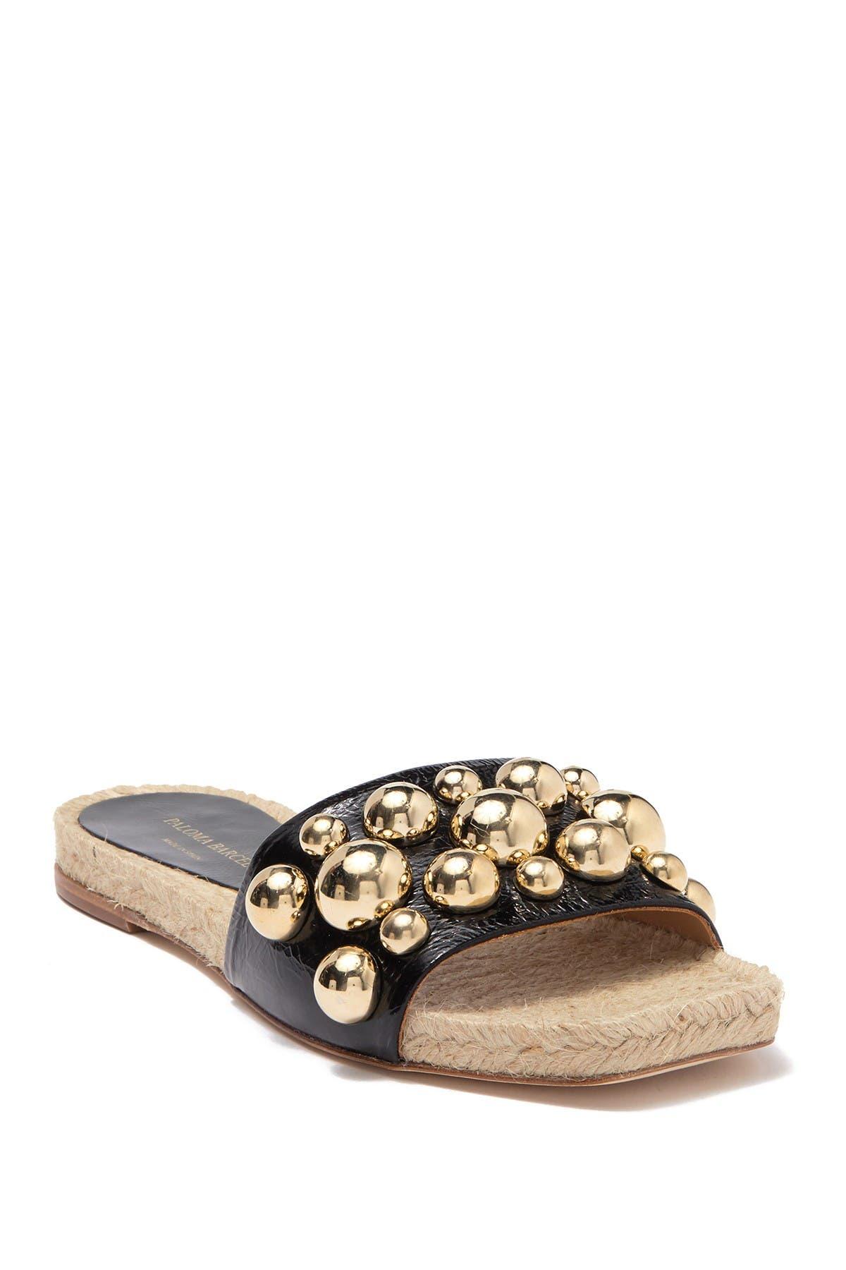 Image of Paloma Barcelo Uwanda Studded Leather Espadrille Slide Sandal