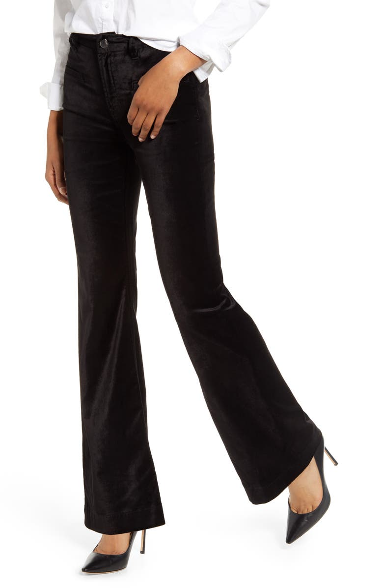 JEN7 BY 7 FOR ALL MANKIND High Waist Velvet Trousers, Main, color, 005