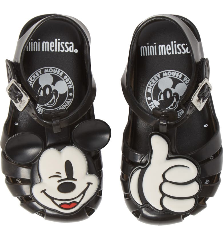 MINI MELISSA Aranha + Mickey Fisherman Sandal, Main, color, BLACK