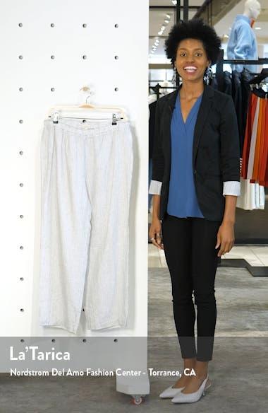 Stripe Straight Leg Crop Linen Pants, sales video thumbnail
