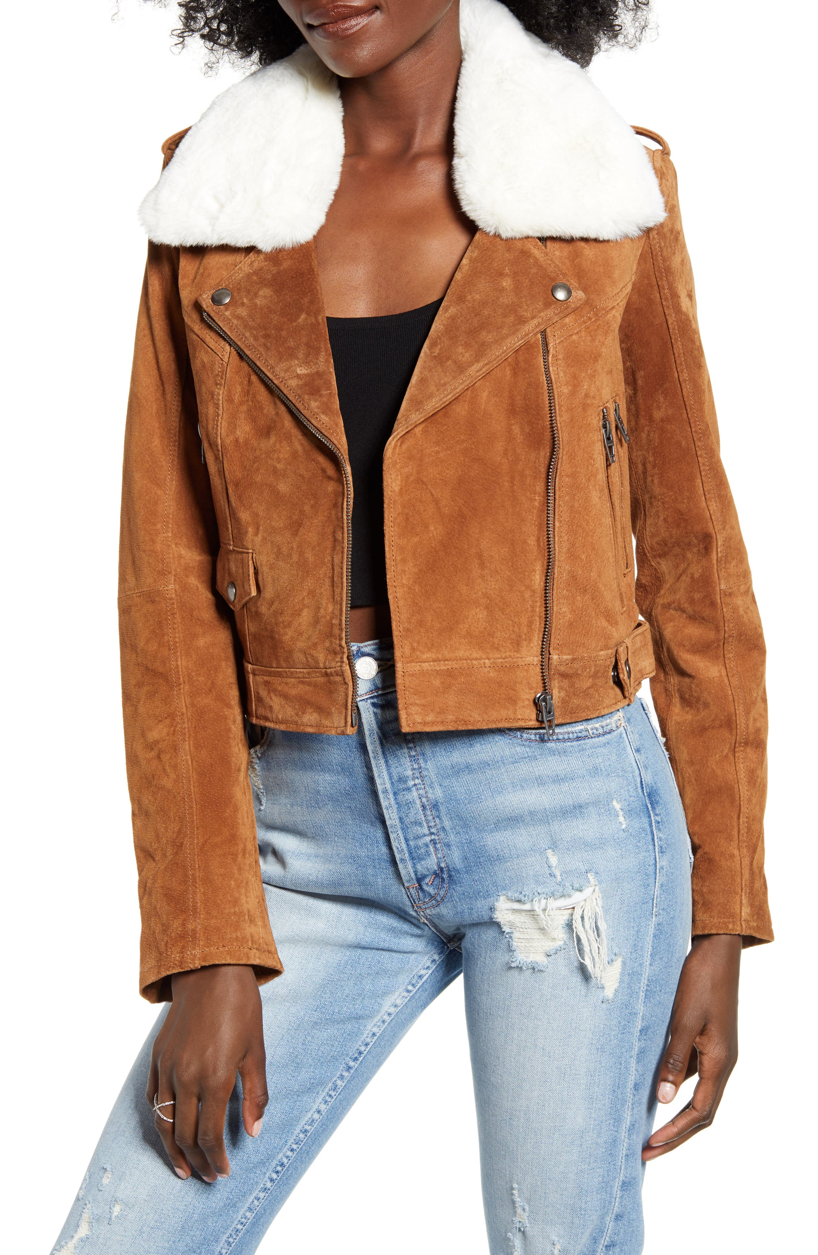 BLANKNYC Removable Faux Fur Collar Suede Moto Jacket