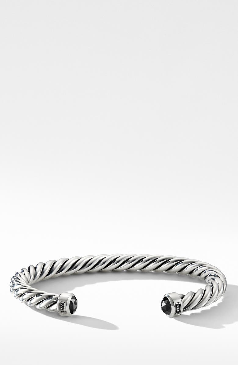 DAVID YURMAN Cable Classic Cuff Bracelet with Black Diamonds, Main, color, SILVER/ BLACK DIAMOND