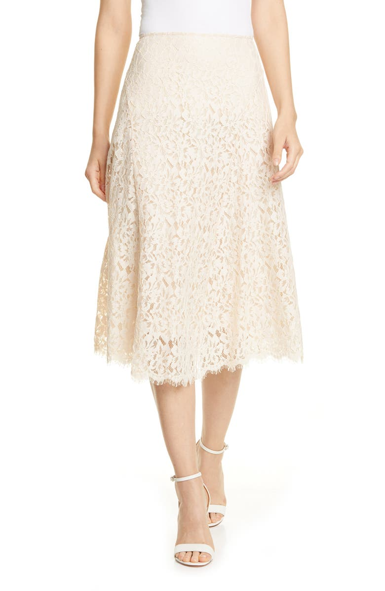 LEWIT Lace Skirt, Main, color, IVORY SHELL